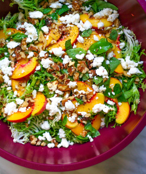 Peach Frisee Salad with Goat Cheese & Basil | ericajulson.com
