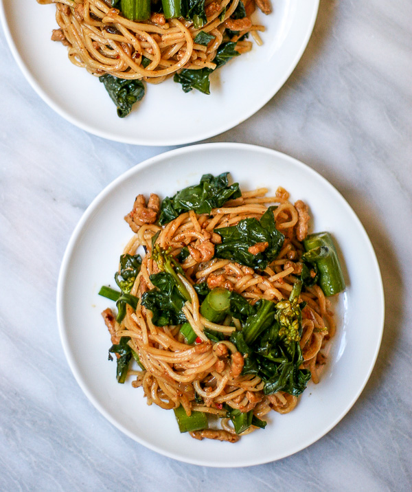 Spicy Pork Noodles with Chinese Broccoli