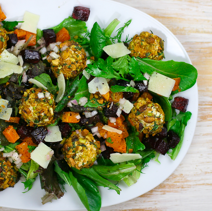 Butternut Squash Beet Salad with Pistachio Crusted Goat Cheese | Goat Cheese Salad Recipe