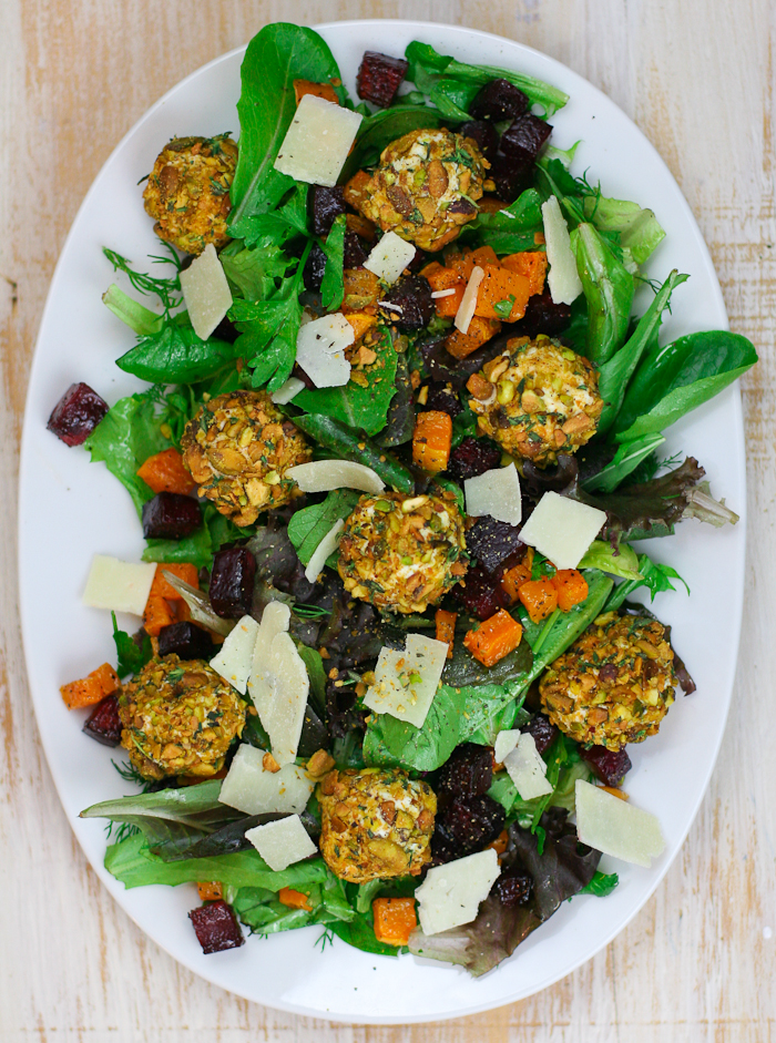 Butternut Squash Beet Salad with Pistachio Crusted Goat Cheese | Salad Recipe