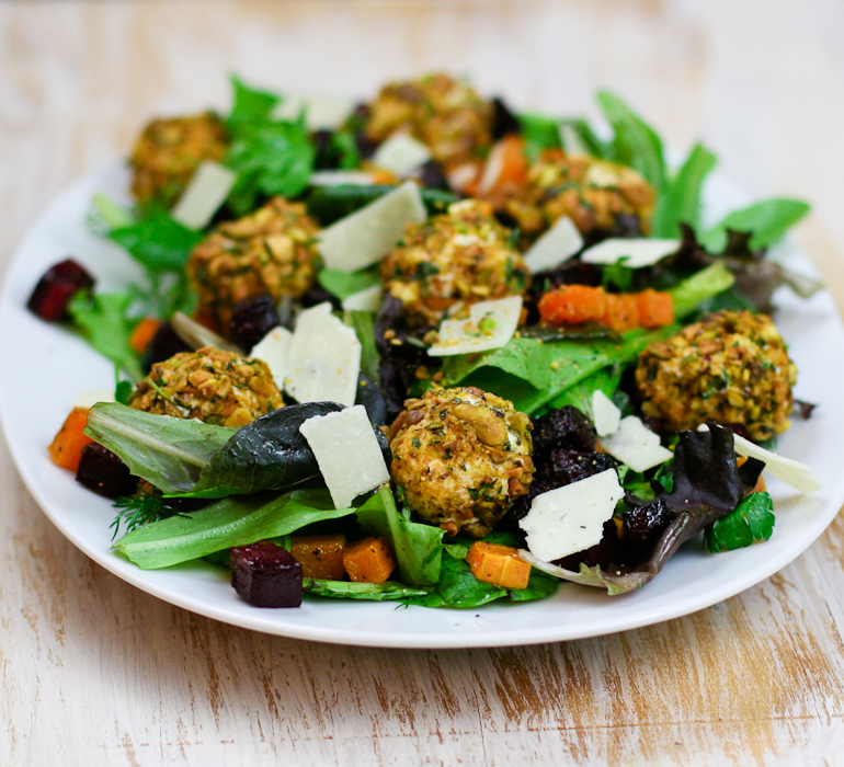 Butternut Squash Beet Salad with Pistachio Crusted Goat Cheese