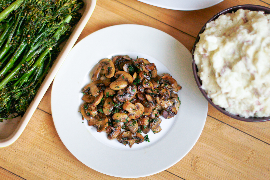 Pan Sauteed Mushrooms Overhead Shot