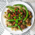 Blistered Green Bean Stir-Fry with Grass Fed Beef and Mushrooms