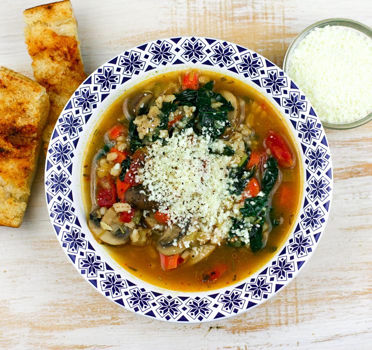 Mushroom Kale Barley Stew
