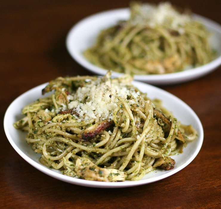 Pesto Chicken Pasta- made with sunflower seeds instead of pine nuts!
