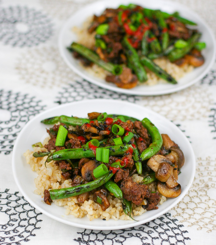 Blistered Green Bean Stir-Fry with Grassfed Beef and Mushrooms