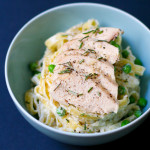 Rosemary Garlic Fettuccine Alfredo with Chicken and Peas