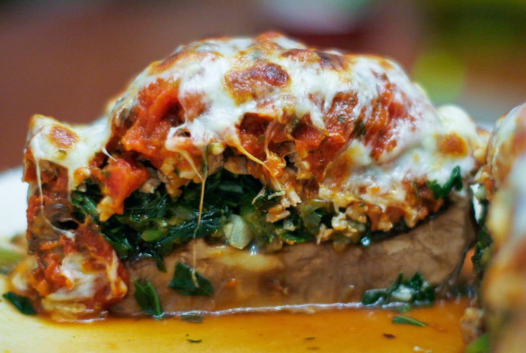 Turkey and Spinach Stuffed Portobello Mushrooms