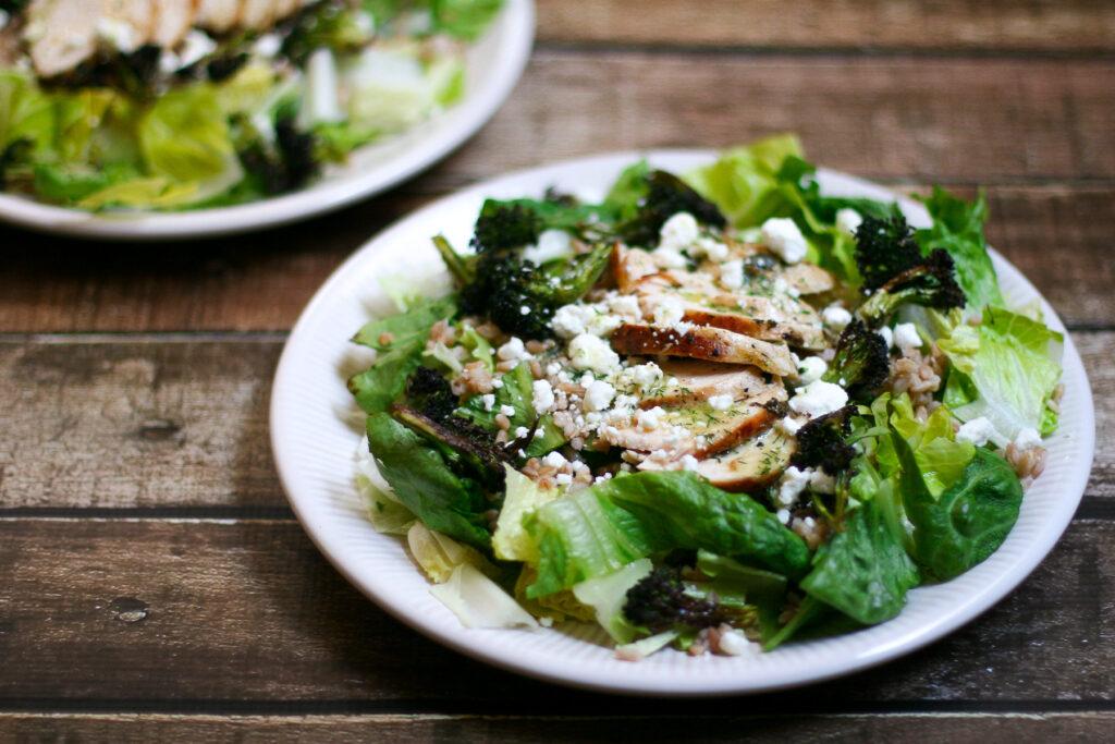 Romaine Farro Charred Broccoli and Chicken Salad