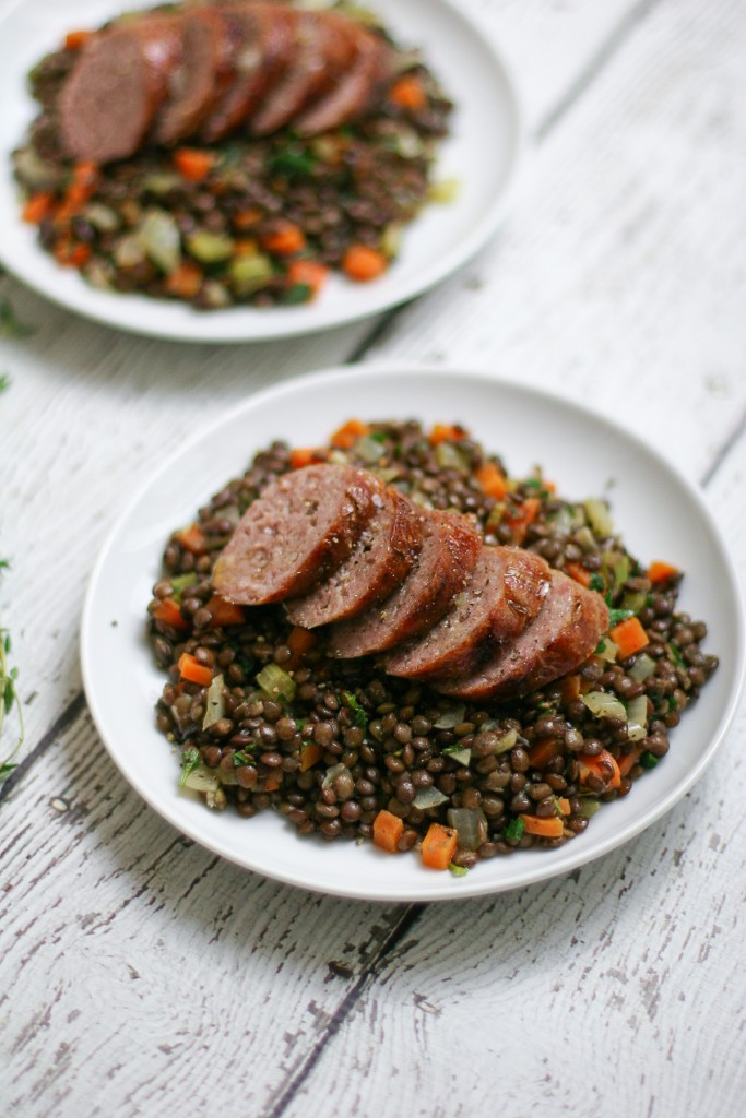 Beer Braised Bratwurst with Lentils