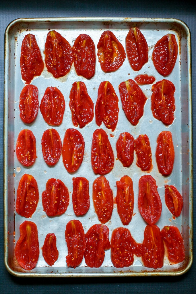 Canned Tomatoes on a Baking Sheet for Roasting