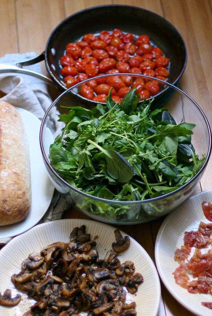 Sauteed Mushroom Salad with Crispy Prosciutto, Blistered Tomatoes, and Gruyere