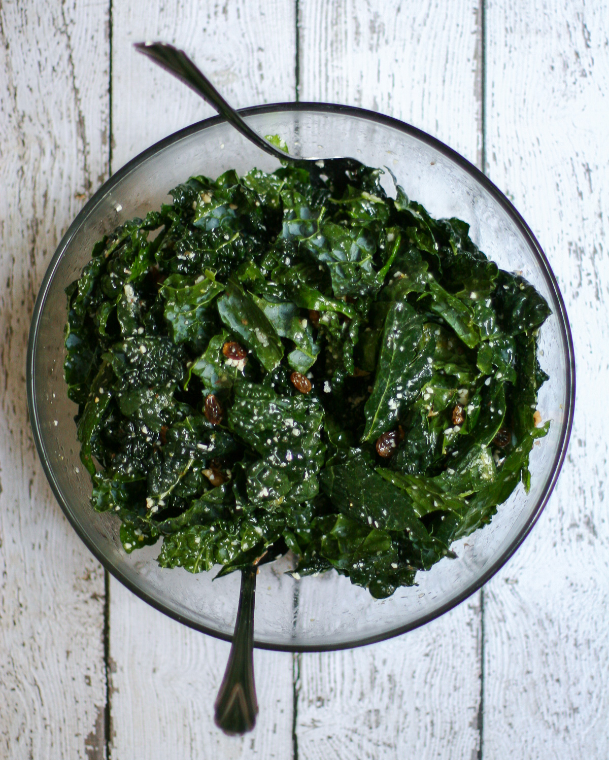 Simple Kale Salad with Golden Raisins and Romano