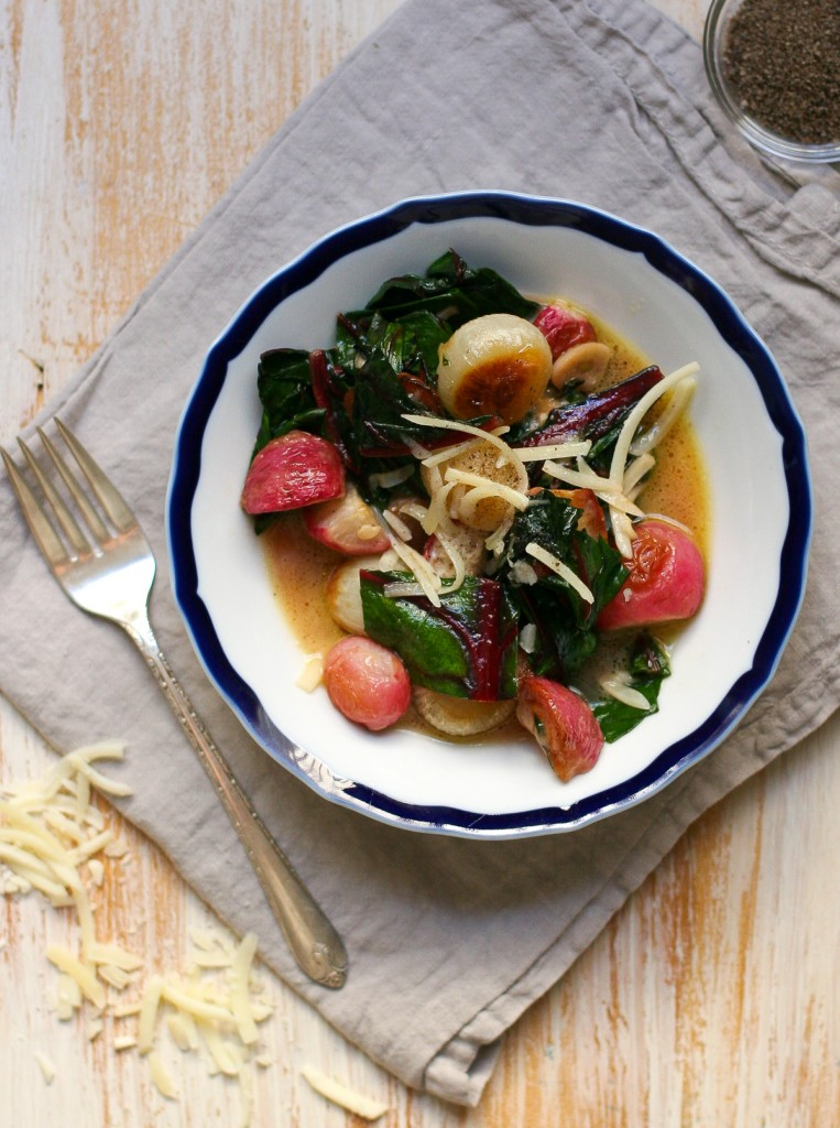 Smoky Roasted Radishes and Chard