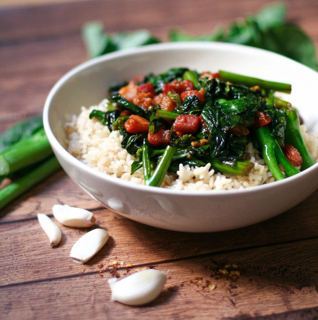 Chinese Broccoli with Crispy Pork Over Brown Rice
