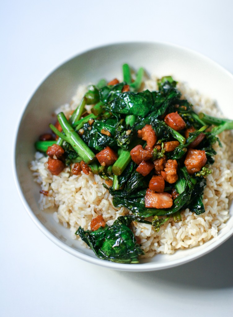 Chinese Broccoli with Crispy Pork in White Bowl