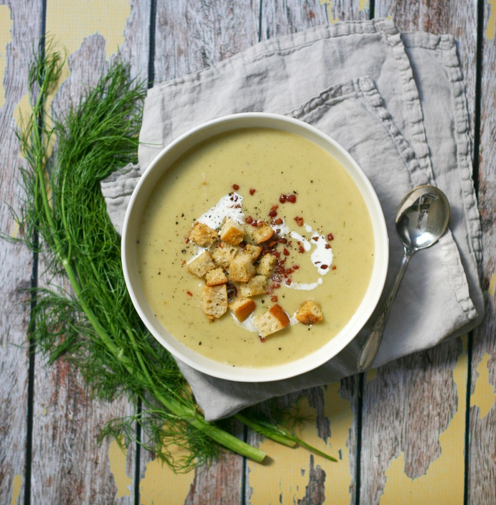 Creamy Potato Soup with Pancetta Garlic Croutons