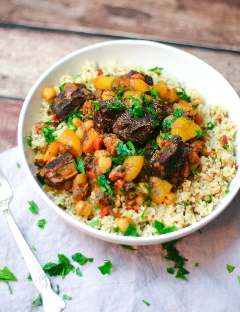 Beef and Apricot Tagine with Chickpeas and Tomatoes