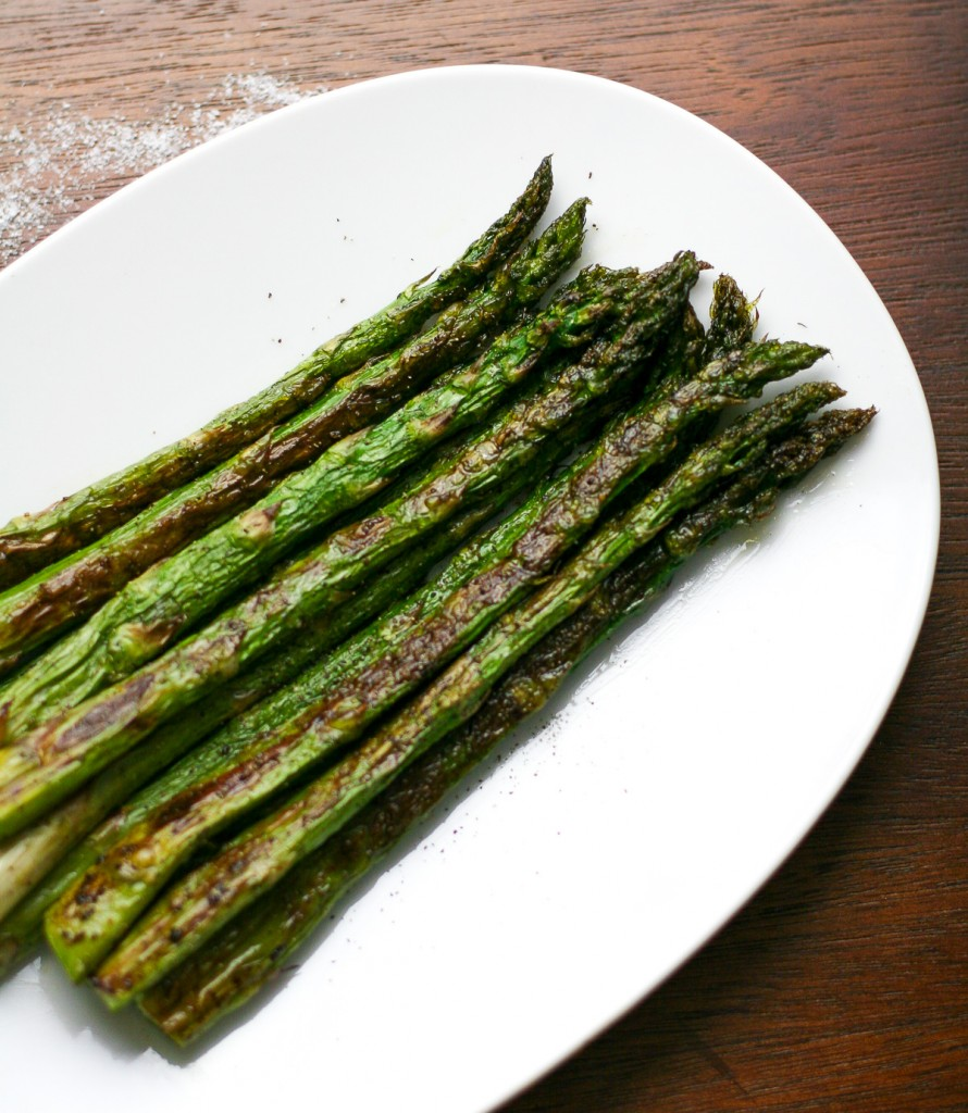 Oven Roasted Asparagus on a White Platter