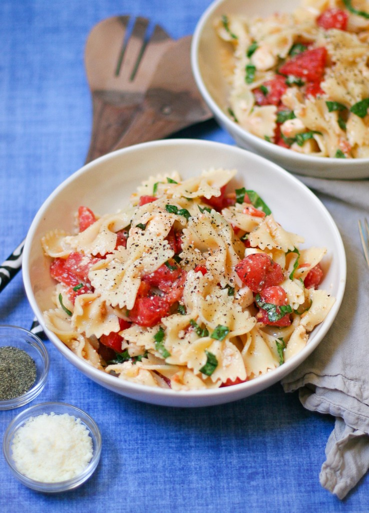 Two Large Bowls of Caprese Pasta Salad