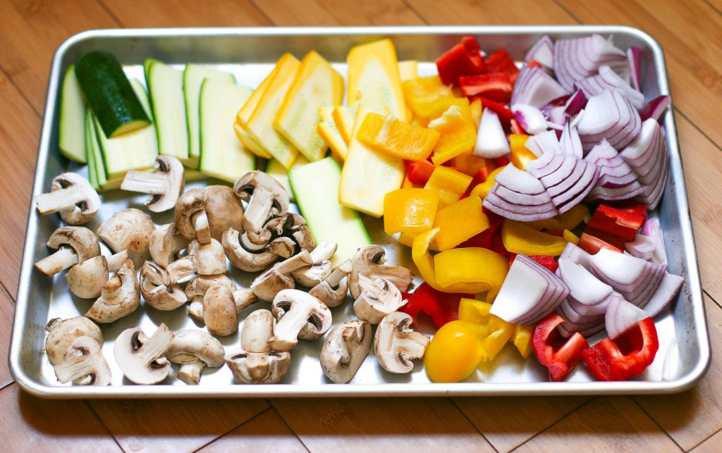 Large Tray of Sliced Summer Vegetables for Grilling