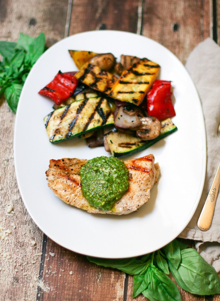 Grilled Chicken and Vegetables with Pesto Overhead Image