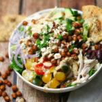 Mediterranean Salad with Crispy Chickpeas and Hummus Dressing
