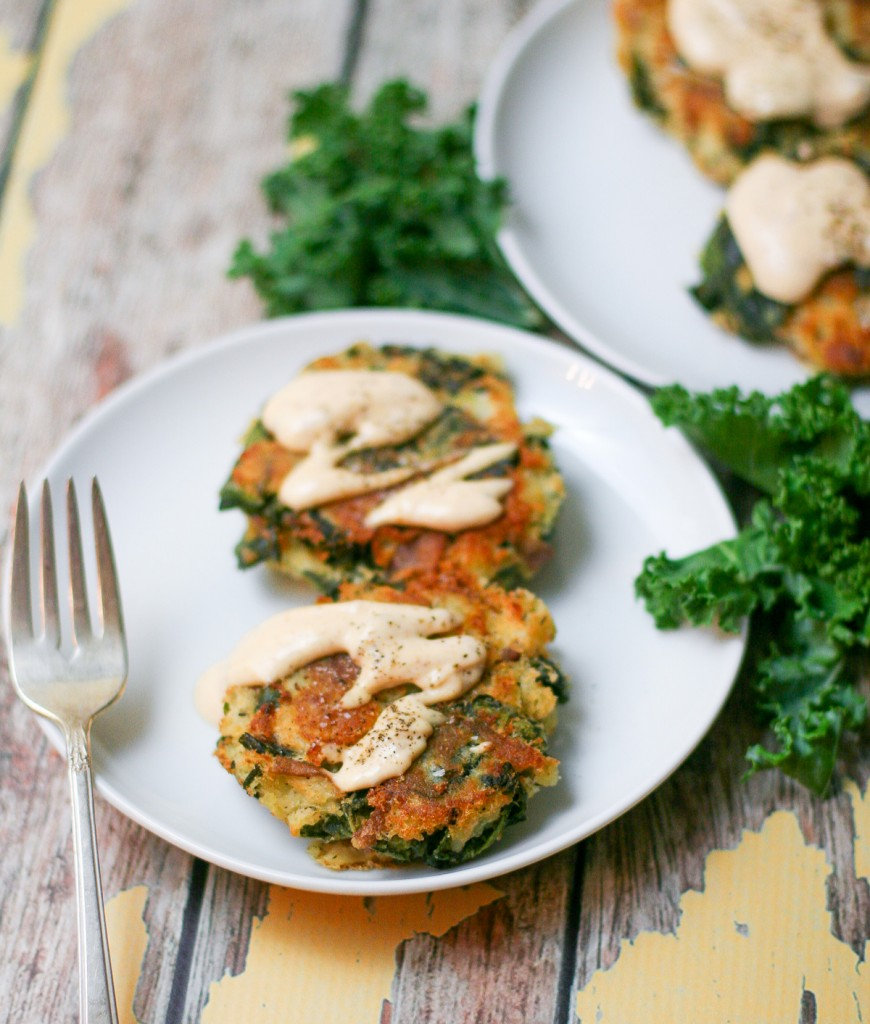 Potato Kale Cakes Drizzled with Creamy Chipotle Sauce.