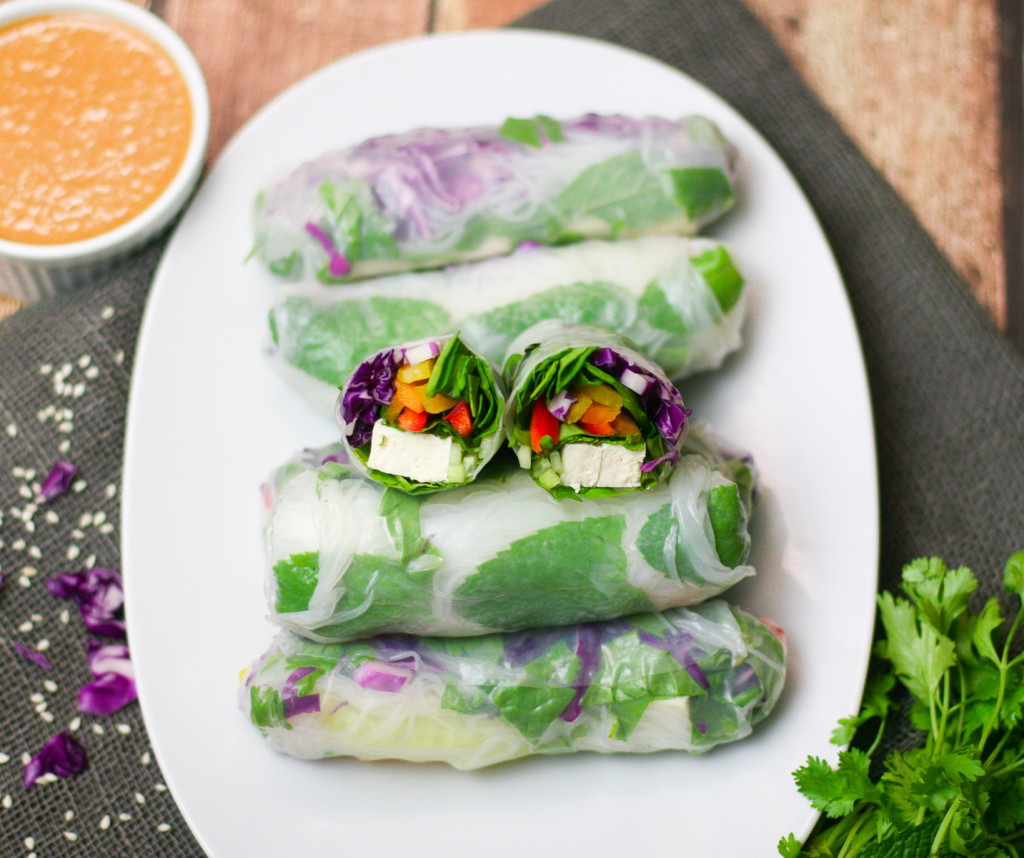 Tofu Summer Rolls with Peanut Dipping Sauce-7