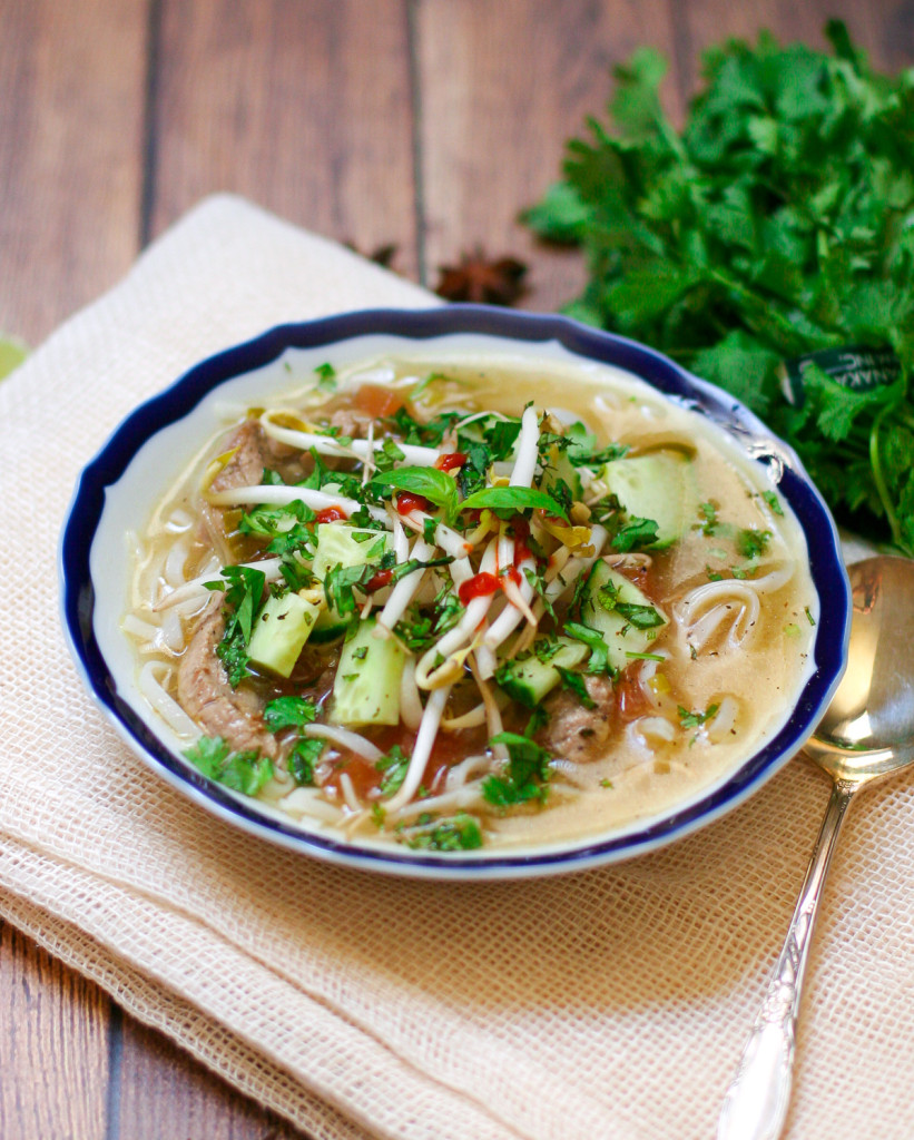 Vietnamese Noodle Soup with Fresh Herbs