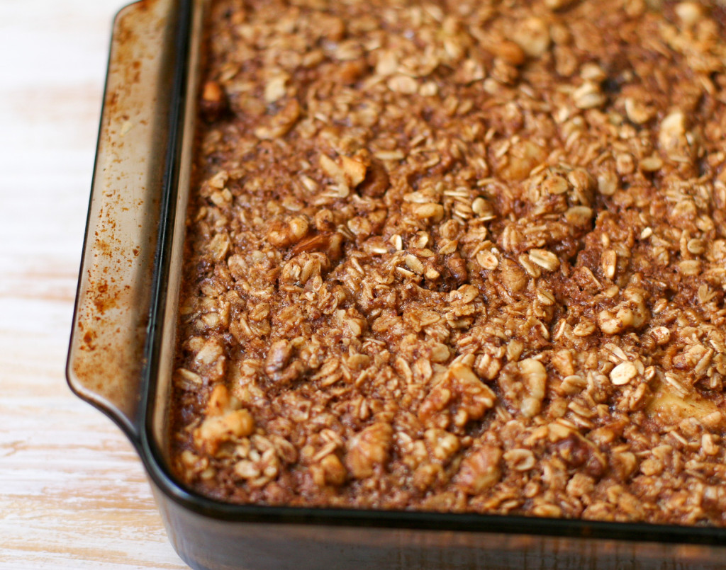 Apple Cinnamon Baked Oatmeal Close Up Shot