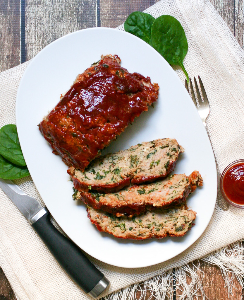 Kale and Spinach Turkey Meatloaf Smothered in Ketchup