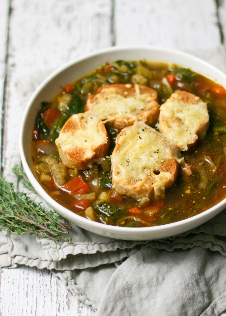 Sausage and Fennel Soup with Gouda Croutons