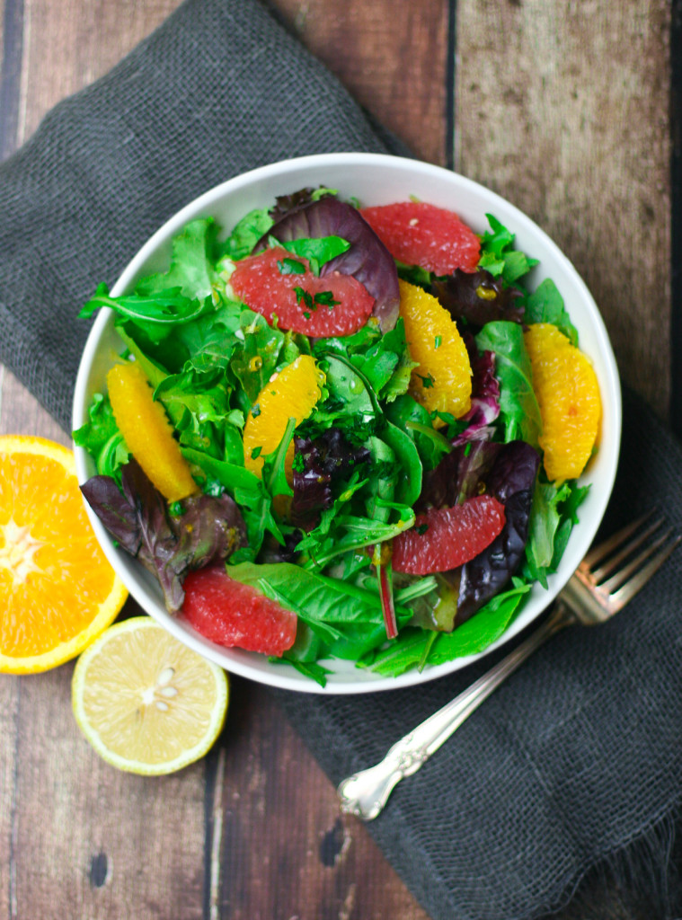 Vegan Winter Citrus Salad with Baby Greens