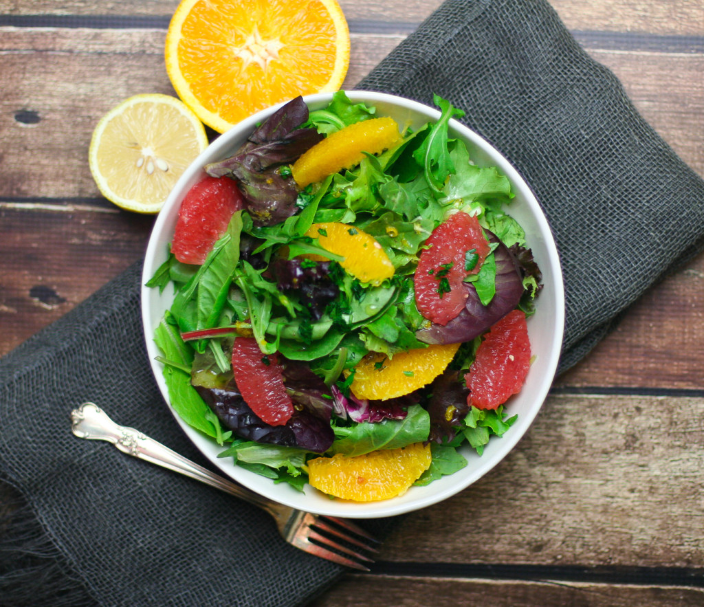 Vegan Winter Citrus Salad in a Large White Bowl