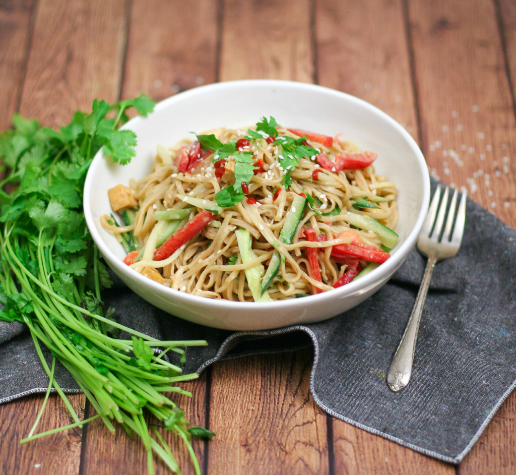 Cold Peanut Noodle Salad with Crispy Tofu and Vegetables