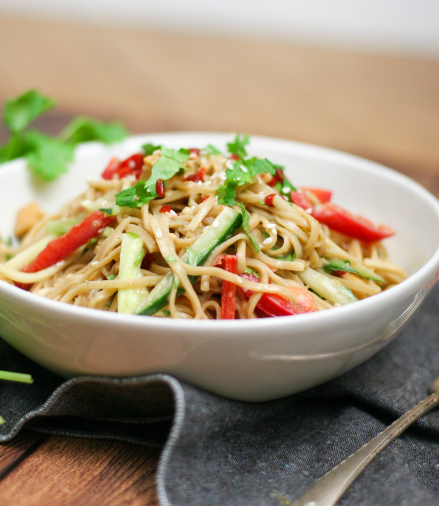 Cold Peanut Noodle Salad with Crispy Tofu