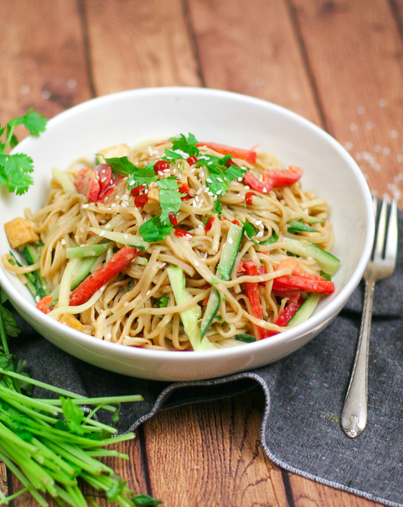 Chilled Peanut Noodle Salad with Crispy Tofu