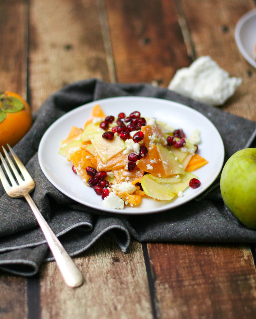 Persimmon, Pomegranate, and Apple Salad with Honey Lime Dressing