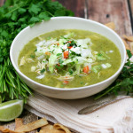 Green Posole with Shredded Chicken