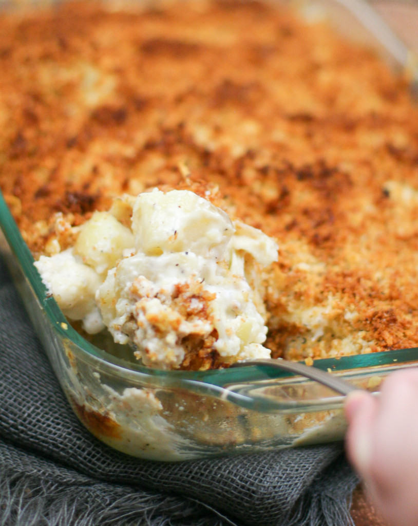 Close-up of Cheesy Baked Potato and Cauliflower Au Gratin