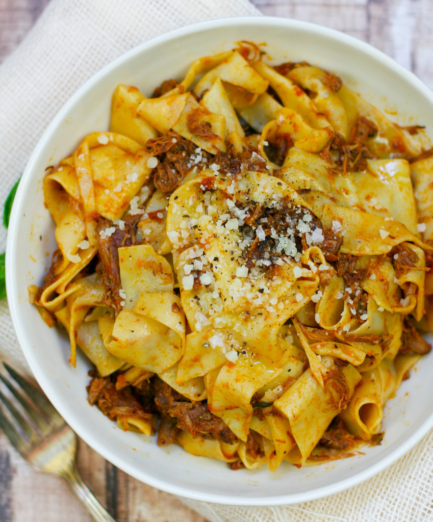 Pappardelle with Pork Ragu Sprinkled with Maldon Sea Salt