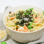 Lemon Parmesan Spaghetti with Fried Capers and Shrimp