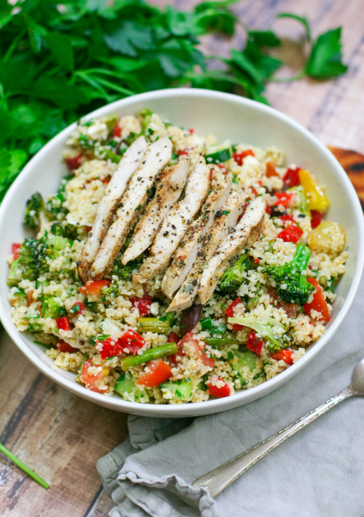 Veggie Packed Couscous Salad with Lemon Oregano Chicken