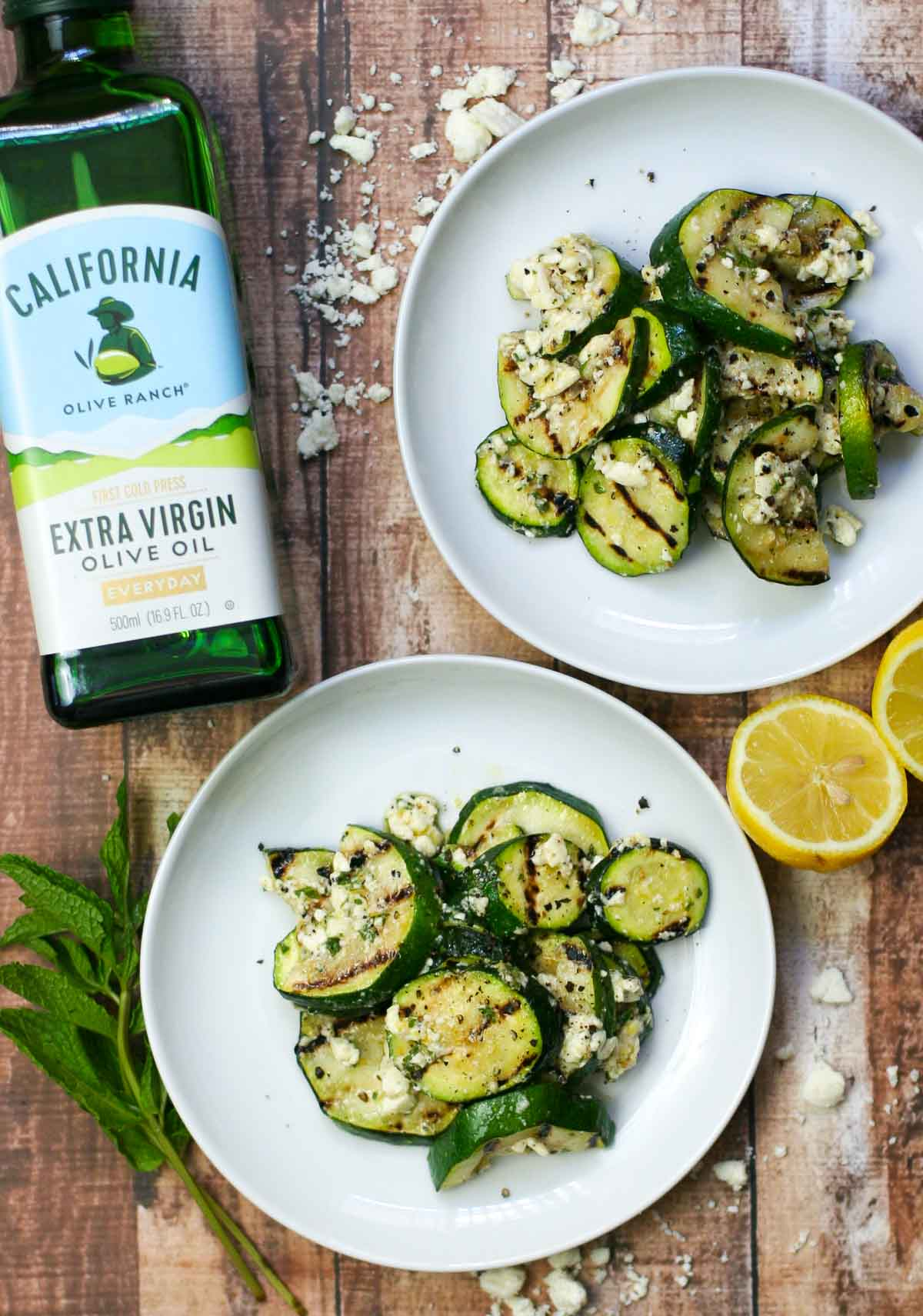 Grilled Zucchini with Mint, Lemon, and Feta - Erica Julson