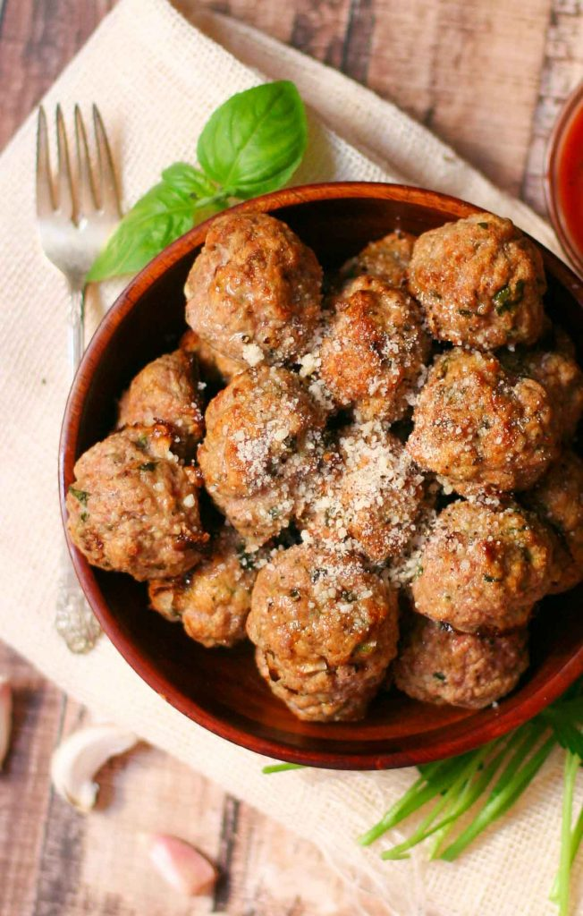 Baked Turkey Meatball Recipe - easy & packed with fresh herbs!