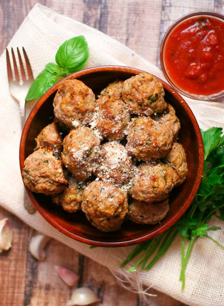 Baked Turkey Meatball Recipe - Serve over pasta or dip in marinara for an appetizer