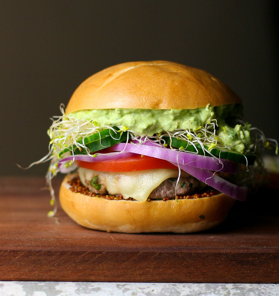 California Turkey Burger with Avocado and Sprouts