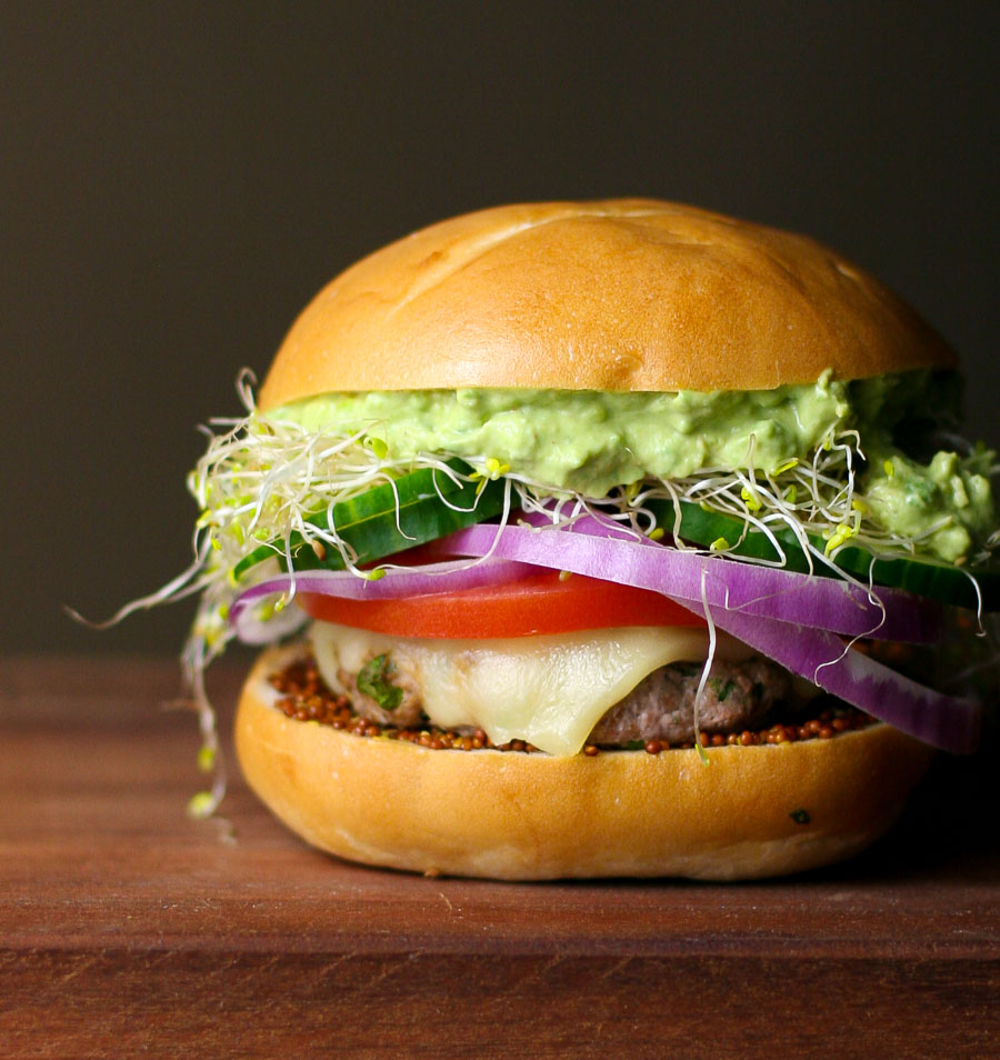 California Turkey Burger with Creamy Avocado and Alfalfa Sprouts