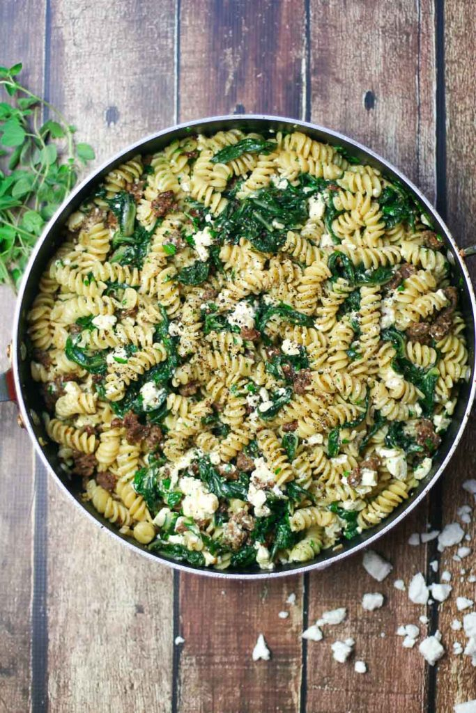 Fusilli Pasta with Spicy Italian Sausage, Feta Cheese, and Swiss Chard